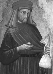 Saint Homobonus, the patron saint of business people, tailors, shoemakers, and clothworkers, as well as of Cremona, Italy.