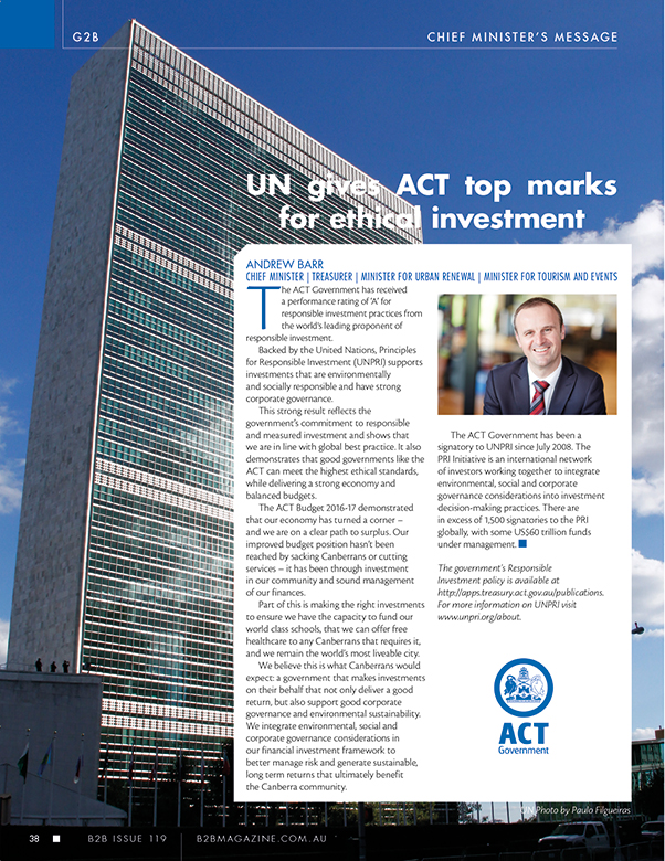 ACT Chief Minister Andrew Barr's article in B2B Magazine